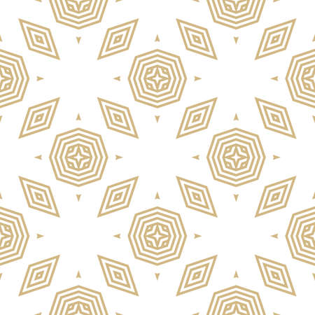 Golden vector geometric seamless pattern. Stylish linear background with lines, stripes, triangles, rhombuses, octagons, diamonds. Abstract white and gold texture. Modern ornamental repeatable design