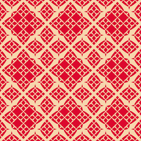 Vector geometric ornament seamless pattern. Elegant texture with grid, mesh, lattice, floral silhouettes, diamond shapes. Abstract background in red and tan colors. Festive design for decor, wallpaper Ilustração