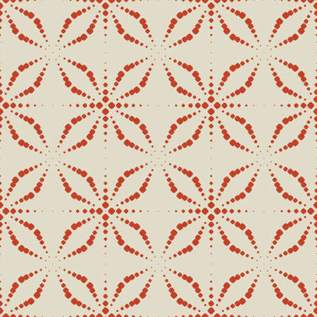 Vector seamless pattern with dots. Simple red and beige geometric texture with dotted halftone crosses, floral silhouettes, grid. Abstract minimal background. Modern repeat design for decor, print