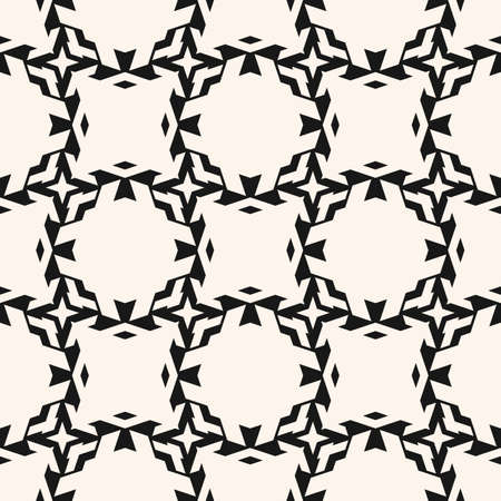 Vector ornamental seamless pattern with carved grid, lattice, net, mesh, diamonds, floral silhouettes. Delicate abstract geometric background. Simple black and white ornament texture. Repeat design