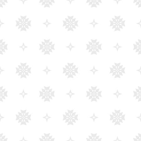 Subtle vector floral minimalist seamless pattern. Simple abstract background with small geometric flowers, stars, crosses. Minimal ornament texture in light gray and white color. Modern repeat design