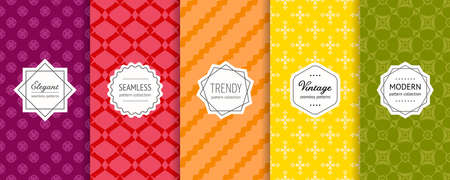 Vector geometric seamless patterns collection. Set of bright colorful background swatches with elegant modern labels. Cute minimal abstract textures. Pretty design with floral elements, stripes, mesh