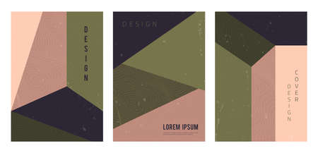 Vector set of abstract geometric covers. Modern architecture backgrounds with copy space for text. Creative pattern template. Trendy design for banner, social media stories, brochure, flyer, poster