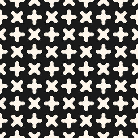 Simple vector seamless pattern. Abstract geometric texture with small crosses, funky curved shapes. Hipster fashion background. Black and white ornament. Stylish dark repeat design for decor, print