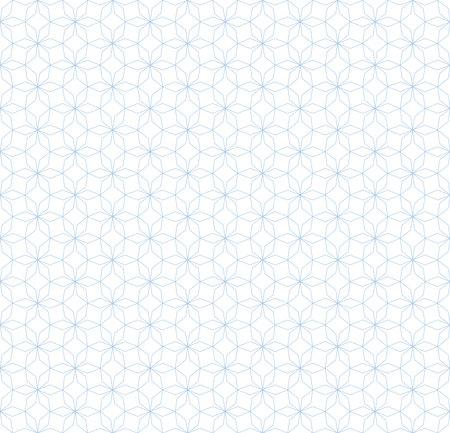 Subtle abstract geometric seamless pattern in Oriental style. Thin lines texture, elegant floral lattice, grid. Subtle blue and white background. Elegant vector ornament. Repeat design for print, web Ilustração