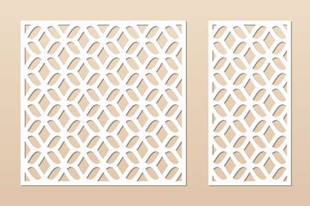 Laser cut panel. Vector template with abstract geometric pattern, grid, mesh, net, lattice ornament. Decorative stencil for laser cutting of wood, metal, plastic, engraving. Aspect ratio 1:1, 1:2