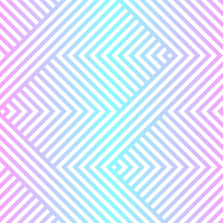 Vector geometric seamless pattern with   zigzag lines, stripes. Neon holographic gradient, blue and pink tones. Abstract sport style graphic texture. Trendy background in 80s - 90s style Ilustrace