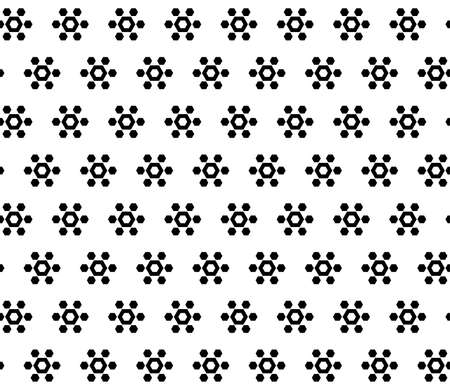 Monochrome geometric seamless pattern, simple vector texture with black geometrical hexagonal floral figures on white background. Abstract repeat illustration. Design for print, decor, textile, fabric