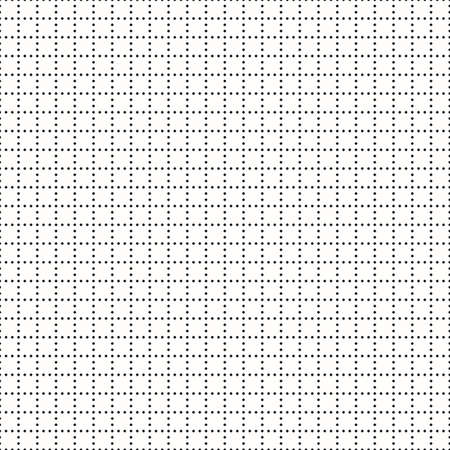 Vector minimal geometric seamless pattern. Simple abstract monochrome texture with tiny circles, small dots in square grid, mesh, net. Delicate black and white background. Subtle repeatable design Ilustração