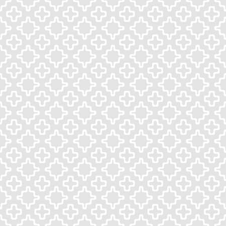 Subtle vector geometric seamless pattern with small shapes, smooth wavy grid, crosses. Simple abstract light gray background texture. Stylish modern minimalist ornament. Repeat design for decor, print