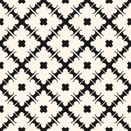 Vector seamless texture with simple geometric shapes. Elegant carved lattice. Monochrome ornament pattern. Abstract repeat background. Oriental design for decor, textile, fabric, tiling, ceramic