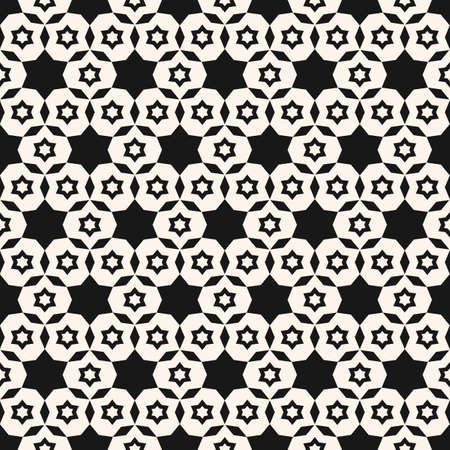 Vector minimalist geometric seamless pattern. Simple black and white texture with small stars, floral shapes, grid, net. Abstract minimal monochrome background. Repeatable design for decor, prints