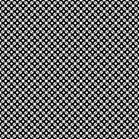 Vector monochrome seamless pattern. Abstract black & white geometric texture, simple floral figures, rounded lattice, repeat tiles. Endless dark background, design for decoration, prints, furniture Ilustração