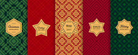 Christmas vector seamless patterns collection. Set of holiday background swatches with elegant labels. Winter Nordic Scandinavian style abstract ornament. Design for decor, print, card, flyer, banner