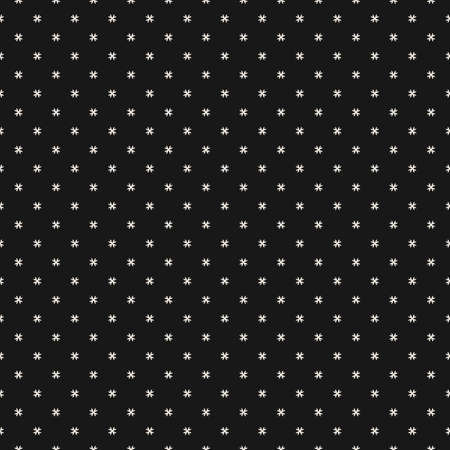 Vector geometric floral pattern. Minimal seamless texture. Abstract ornament with small flower shapes, tiny crosses, stars. Elegant black and white background. Minimalist repeat design for web, cover