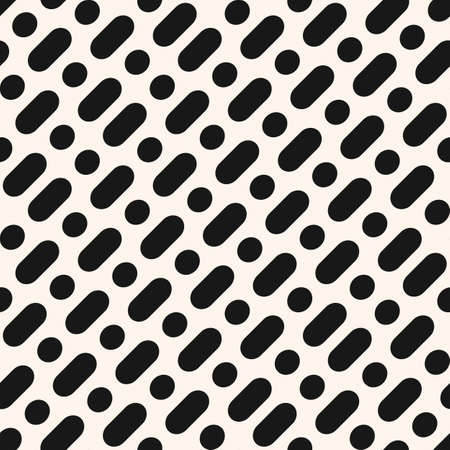 Vector minimalist monochrome seamless pattern. Simple geometric background with diagonal rounded lines, circles, dots. Abstract black and white texture. Stylish modern repeat design for decor, print
