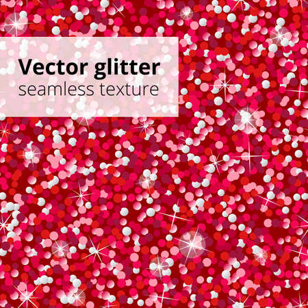 Red glitter seamless pattern. Vector shining sparkles texture. Endless shimmering sequins background. Glamorous style repeat design element for holiday decoration, greeting cards, Valentine's day Ilustração