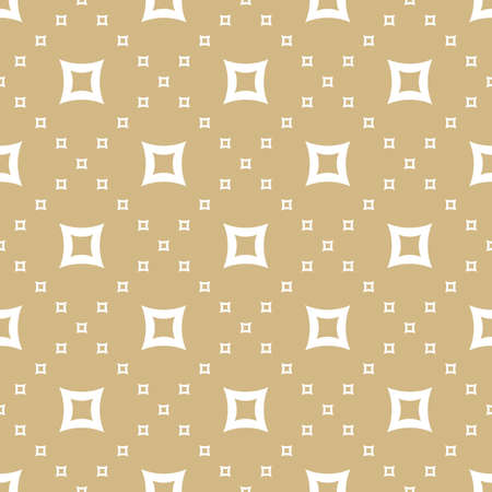 Golden vector seamless pattern. Simple geometric texture with small curved squares, grid, lattice. Abstract white and gold repeat background. Luxury minimalist design for decor, fabric, gift paper Ilustração