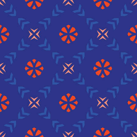Vector geometric floral seamless pattern. Simple ornament with small flower silhouettes, crosses, arrows, grid. Abstract background in trendy neon colors, orange and blue. Stylish modern repeat design