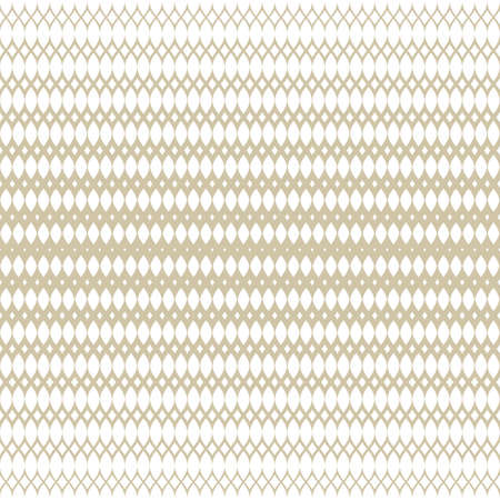Golden halftone seamless pattern. White and gold vector texture of mesh, lace, weave, tissue, lattice, fabric. Gradient transition effect. Luxury abstract geometric background. Elegant endless design