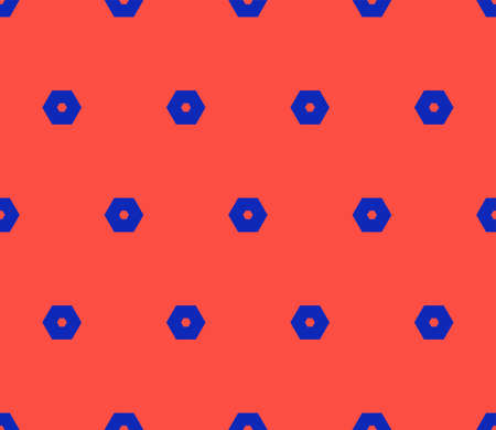 Vector minimalist geometric seamless pattern with hexagons. Colorful funky style texture. Trendy bright colors, red and electric blue. Retro 1980-1990's fashion background. Repeating minimal design Ilustração