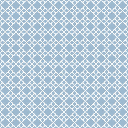Vector geometric seamless pattern. Abstract background with small diamond shapes, floral figures, square grid, net, repeat tiles. Elegant ornament design in soft blue and white colors. Damask texture