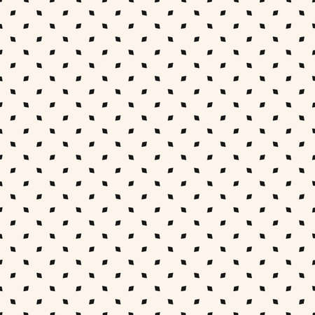 Vector minimalist seamless pattern. Abstract geometric texture with small figures, rhombuses, diamonds, dots. Simple minimal black and white background. Monochrome repeat design for decor, wallpapers