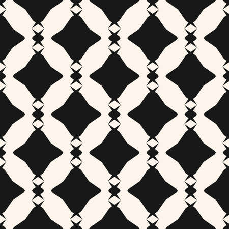 Diamond seamless pattern. Vector abstract geometric texture. Black and white ornament with rhombuses, diamond, chains, repeat tiles. Simple monochrome graphic background. Repeatable decorative design