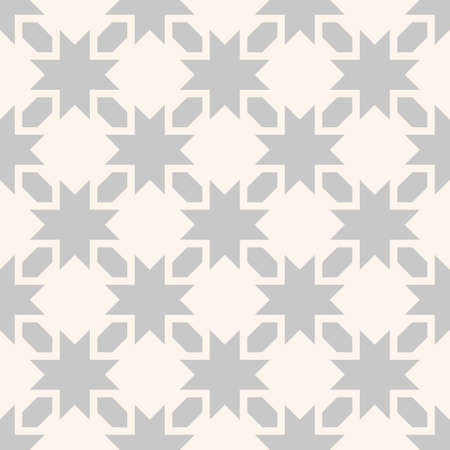 Vector seamless pattern with stars, flowers, diamonds, geometric shapes, grid. Abstract floral texture. Gray and beige color. Simple ornament background. Repeat geo design for decor, print, wallpaper