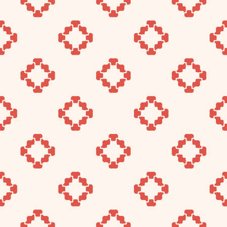 Vector floral geometric seamless pattern. Simple minimalist ornament with flower shapes. Stylish minimal background. Elegant abstract texture. Red and light beige color. Design for decor, wallpapers