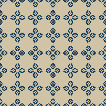 Golden vector abstract ornamental floral seamless pattern. Luxury gold and blue geometric background with flower shapes, leaves, petals, mesh, grid. Elegant ornament texture. Stylish repeated design