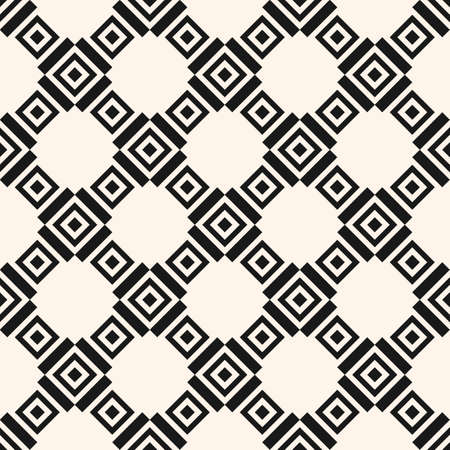 Geometric square texture. Monochrome vector seamless pattern with rhombuses, squares, grid, lattice, repeat tiles. Simple geometrical checkered background. Black and white design for decor, print