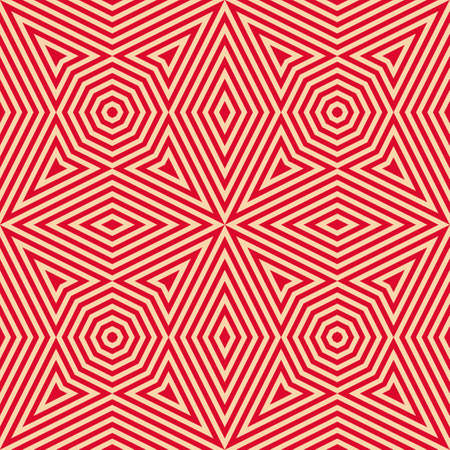 Vector geometric lines seamless pattern. Stylish red and beige background. Modern abstract graphic texture with stripes, octagons, triangles, rhombuses, diagonal lines. Creative repeat design element