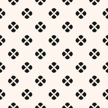 Vector floral minimalist seamless pattern. Black and white abstract geometric background with simple small flowers, petals, leaves. Minimal repeat ornament texture. Monochrome design for decor, cloth
