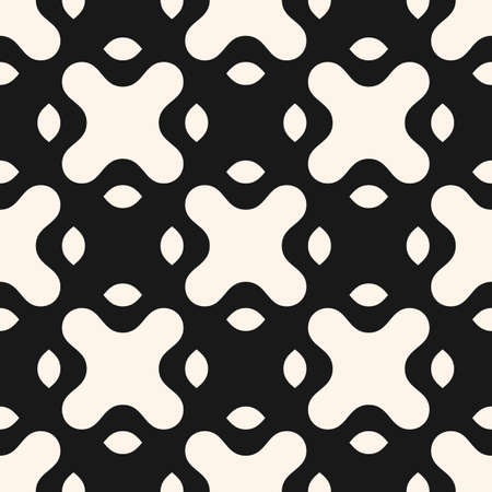 Vector monochrome seamless pattern with big curved shapes, crosses, mesh. Abstract geometric background. Simple black and white texture. Stylish repeat design for decor, tileable print, wallpaper