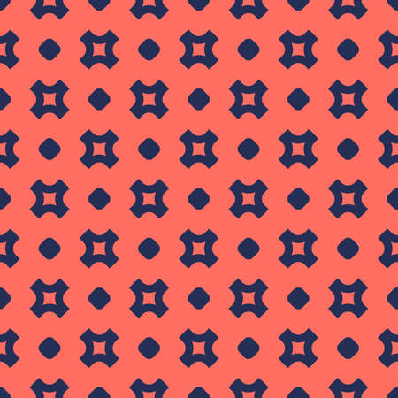 Simple vector seamless pattern with small crosses and circles. Abstract minimalist geometric texture in trendy colors, living coral and dark blue. Minimal repeat background. Design for decor, textile Ilustração