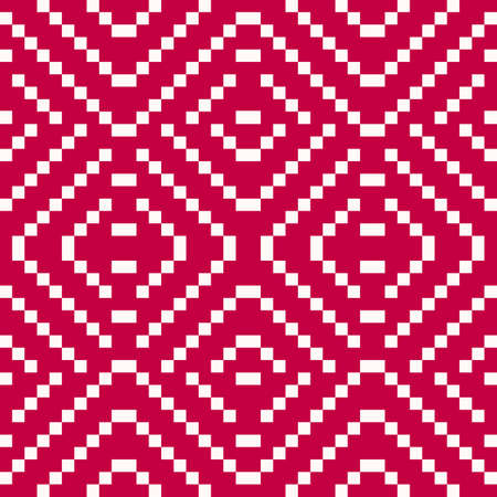 Vector geometric folk ornament. Slavic traditional ethnic seamless pattern. Ornamental background with small squares, crosses, floral shapes. Repeat texture of embroidery, knitting. Red and white Ilustração