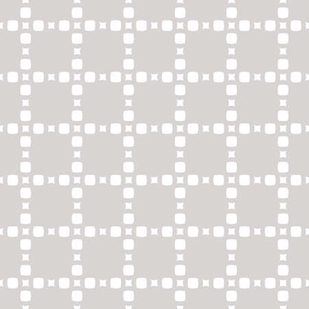 Subtle vector minimalist seamless pattern with tiny squares and circles in delicate grid. Simple abstract geometric background texture white and light gray color. Silver ornament. Fine repeat design