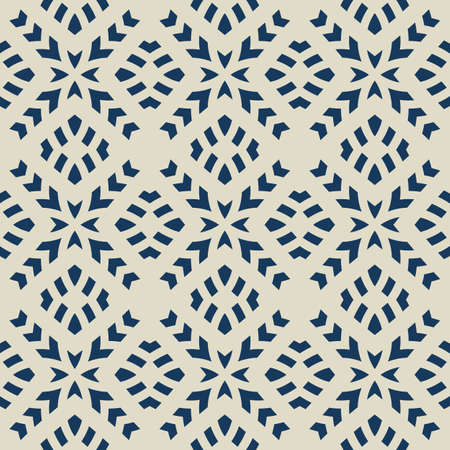 Vector geometric seamless pattern. Abstract ethnic texture with ornamental grid, mesh, lattice, cross shapes. Tribal ethnic motif. Dark blue and beige color. Folk style background. Repeatable design