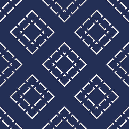 Vector geometric seamless pattern with diamonds, rhombuses, lines, grid, tiles. Abstract dark blue texture. Stylish modern minimal background. Repeat design for decoration, wallpaper, cloth, textile