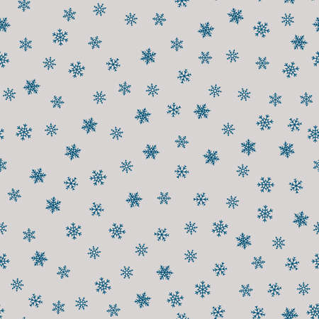 Snow seamless pattern. Elegant Christmas background with small blue snowflakes on gray backdrop. Winter holiday theme vector texture. Stylish repeat design for decor, print, web, gift paper, scrapbook