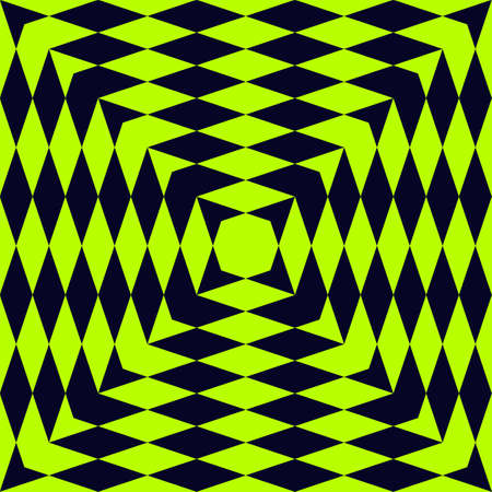 Abstract vector geometric checkered pattern. Seamless texture with diamond shapes. Optical illusion effect. Simple psychedelic background in vibrant colors, neon green and black. 1990s style design