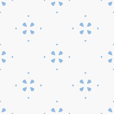 Abstract geometric floral seamless pattern. Simple vector minimalist texture with small flower silhouettes, diamonds. Elegant minimal light blue and white background. Repeat design for decor, textile Ilustração