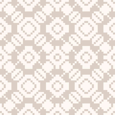Vector geometric traditional ornament. Fair isle seamless pattern. Ethnic folk motif. Subtle texture with squares, crosses, flowers, embroidery, knitting. Simple repeated background in beige colors Ilustração