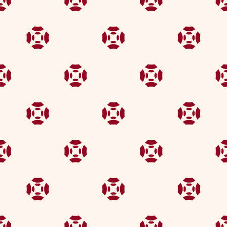 Vector minimalist floral geometric seamless pattern. Abstract ornament texture with flower silhouettes, curved shapes. Simple minimal background in burgundy and white color. Elegant repeated design