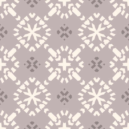 Vector ornamental seamless pattern. Elegant geometric ornament texture with flower silhouettes, crosses, grid. Abstract floral background in gray color. Repeat design for decor, wallpaper, textile