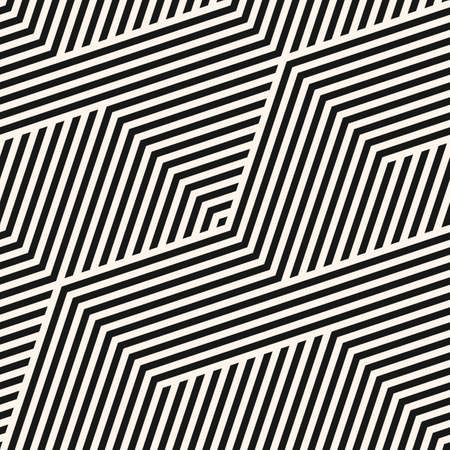 Geometric lines seamless pattern. Simple vector texture with diagonal stripes, lines, zigzag. Abstract black and white graphic background. Modern sport style linear ornament. Repeat design