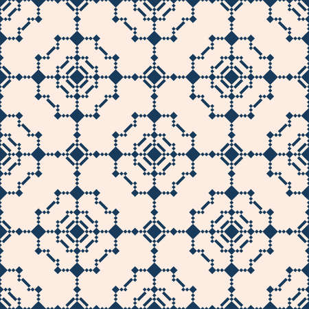 Vector geometric seamless pattern in ethnic style. Abstract texture with diamonds, rhombuses, squares, grid, lattice, flower silhouettes. Elegant dark blue and beige ornament. Repeated background