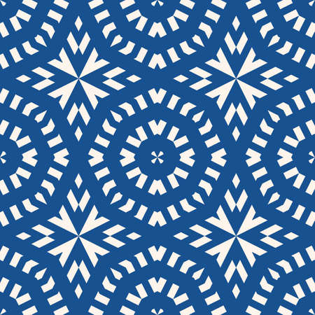 Vector ornamental seamless pattern. Indigo blue tile in traditional mediterranean, spanish, portuguese style. Abstract mosaic background texture with stars, floral shapes, lines. Oriental design