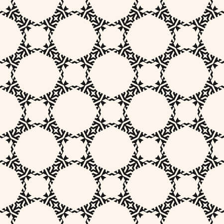 Vector geometric seamless pattern. Abstract floral ornamental background, repeat tiles, diamonds, stars, grid, net, lattice. Abstract black and white ornament texture. Oriental style decorative design